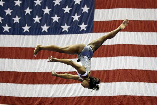 PHOTO: Simone Biles works on the beam during practice for the U.S. Gymnastics Championships Wednesday, Aug. 7, 2019, in Kansas City, Mo. (Charlie Riedel/AP)