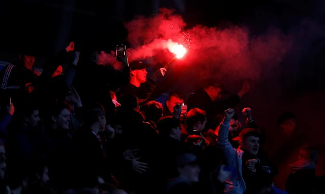 Soccer Football - FA Cup Second Round - Blackburn Rovers vs Crewe Alexandra - Ewood Park, Blackburn, Britain - December 3, 2017 Crewe fans with a flare celebrate a goal Action Images/Carl Recine