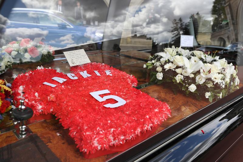 Floral tributes for Jack Charlton outside West Road Crematorium, in Newcastle before his funeral. The former Republic of Ireland manager, who won the World Cup playing for England, died on July 10 aged 85.