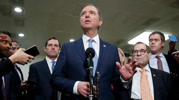 PHOTO: House Intelligence Committee Chairman Adam Schiff, speaks to the media along with with Rep. Jason Crow, left, and Judiciary Committee Chairman Jerrold Nadler, right, on the fourth day of the impeachment trial, Jan. 24, 2020, on Capitol Hill. (Jacquelyn Martin/AP)