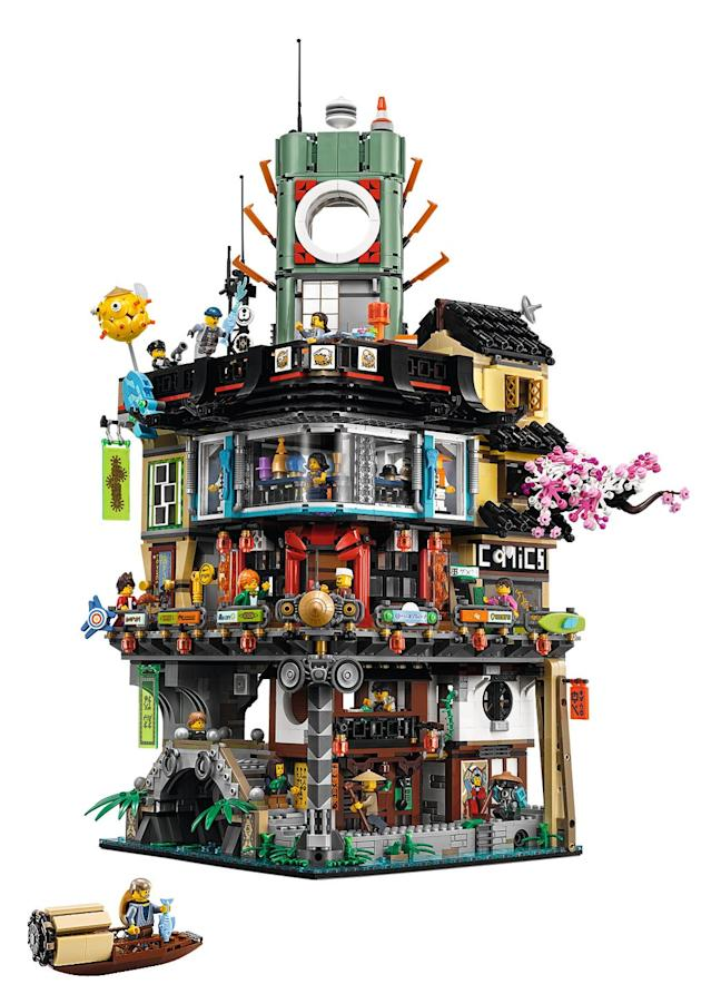<p>A look at the fully assembled 4,867-piece three-level set, which includes a traditional fishing boat and 16 minifigures: Jay, Kai and Lloyd Garmadon, Green Ninja Suit, Misako, Jamanakai Villager, Sally, Ivy Walker, Konrad, Severin Black, Tommy, Guy, Juno, Mother Doomsday, Shark Army Gunner and Officer Noonan, plus Sweep the maintenance robot. It will retail for $299.99. (Credit: Lego) </p>