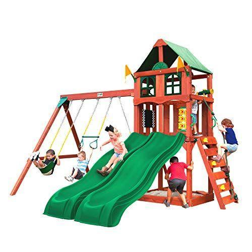 """<p><strong>Gorilla Playsets</strong></p><p>amazon.com</p><p><strong>$1199.99</strong></p><p><a href=""""https://www.amazon.com/dp/B08S26XTYV?tag=syn-yahoo-20&ascsubtag=%5Bartid%7C10055.g.35853477%5Bsrc%7Cyahoo-us"""" rel=""""nofollow noopener"""" target=""""_blank"""" data-ylk=""""slk:Shop Now"""" class=""""link rapid-noclick-resp"""">Shop Now</a></p><p>For older kids, our Lab pros love the versatility of Gorilla Playsets. In addition to active play tools, including two swings, a trapeze, a climbing rock wall, dual slides, a canopy-covered top deck and a built-in sandbox, <strong>this set comes with fun accessories, like a steering wheel, tic-tac-toe panel, a chalkboard and a telescope, to encourage imagination and creativity</strong>. </p><p>The brand also makes even <a href=""""https://www.amazon.com/Gorillaplay-Backyard-Playground-Treasure-Deluxe/dp/B00RZIESQM?tag=syn-yahoo-20&ascsubtag=%5Bartid%7C10055.g.35853477%5Bsrc%7Cyahoo-us"""" rel=""""nofollow noopener"""" target=""""_blank"""" data-ylk=""""slk:more extensive swing sets"""" class=""""link rapid-noclick-resp"""">more extensive swing sets</a>, with multiple decks and rope climbing walls. Crafted with decay-resistant cedar wood and outfitted with recessed bolts and rubber-coated chains for added protection, this set meets ASTM safety standards.</p><p><em>Assembled dimensions: 14'6 x 12' x 10'</em></p>"""