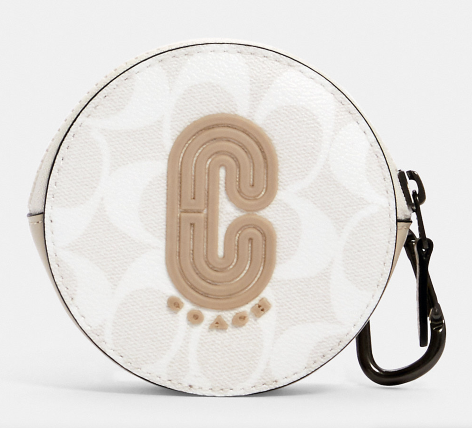 white and beige coach outlet Round Hybrid Pouch in Signature Canvas with Coach Patch
