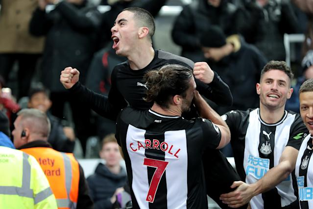 Newcastle's Miguel Almiron (top) celebrates his first goal in the English Premier League on Saturday against Crystal Palace (Richard Sellers/Getty)