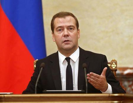 Russia's Prime Minister Medvedev leads a government meeting in Moscow