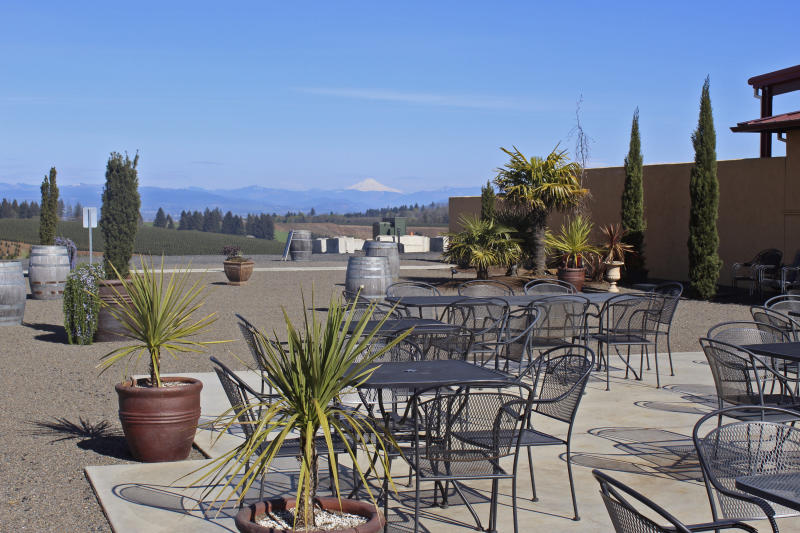 In this photo taken Tuesday, April 14, 2020, the patio at Coria Estates, a winery on the outskirts of Salem, Ore,, is devoid of customers because of the governor's stay-at-home order. Oregon is in its fourth week of lockdown. Oregonians can't enter state parks in mountains and in valleys now blooming with springtime flowers, or go to the state's trademark wineries and microbreweries. But Oregon appears to be an outlier as coronavirus cases start to peak in each state. Of all the states in America, Oregon should have the fewest COVID-19 deaths per capita when the peak comes here, according to researchers at the University of Washington who developed a closely watched model. (AP Photo/Andrew Selsky)