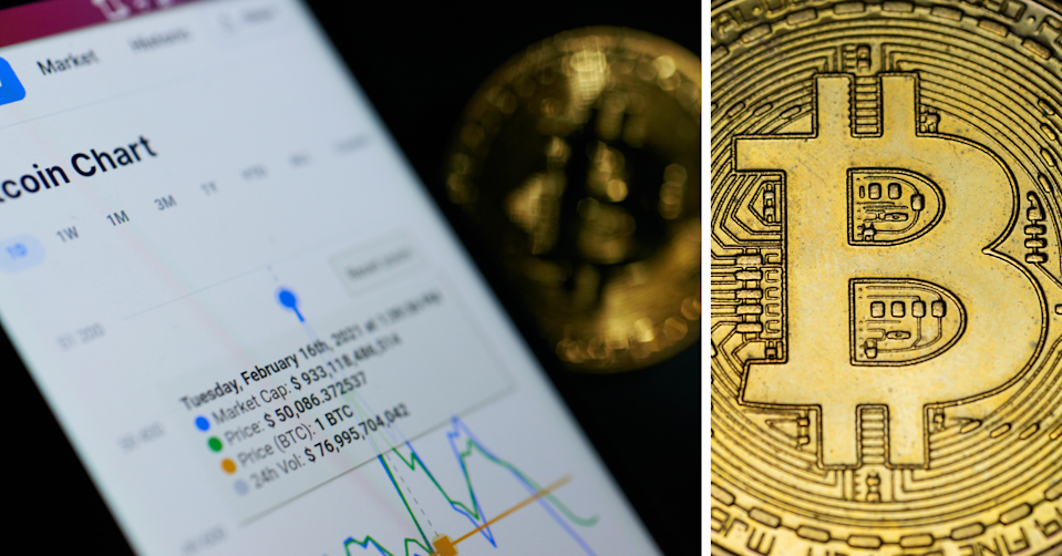 Phone with a Bitcoin chart showing price rises and an image of a bitcoin