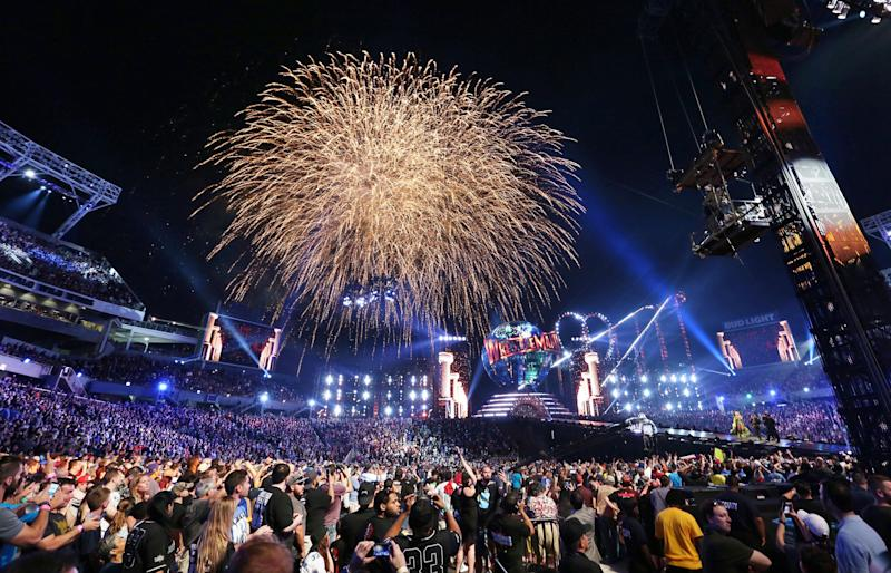 Fireworks explode during WrestleMania 33 on Sunday, April 2, 2017 at Camping World Stadium in Orlando, Fla. (Stephen M. Dowell/Orlando Sentinel/TNS via Getty Images)