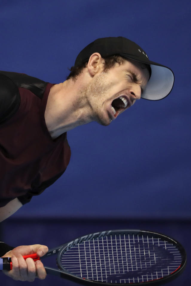 Andy Murray of Britain reacts during the European Open final tennis match with Stan Wawrinka of Switzerland in Antwerp, Belgium, Sunday, Oct. 20, 2019. (AP Photo/Francisco Seco)
