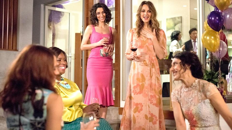"""<p>When Abby McCarthy, an author of self-help books about family relationships, gets a divorce, her whole world comes crashing down. Her friends help her navigate being single at 40 and start her life all over again.</p> <p><a href=""""https://www.netflix.com/title/80029145"""" class=""""link rapid-noclick-resp"""" rel=""""nofollow noopener"""" target=""""_blank"""" data-ylk=""""slk:Watch Girlfriends' Guide to Divorce on Netflix now"""">Watch <strong>Girlfriends' Guide to Divorce</strong> on Netflix now</a>.</p>"""