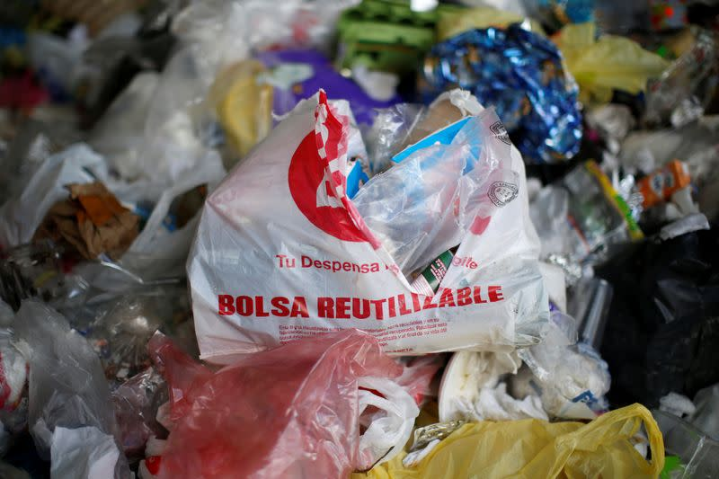 Plastic garbage is pictured at a market which no longer provides plastic bags for customers to carry products, in Mexico City