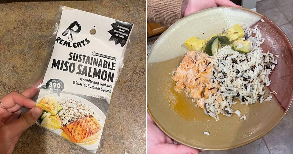 <p>I'm not sure if I cooked this one wrong, but the salmon came out super watery and the rice was undercooked. The roasted summer squash stole the show and was very flavorful. Out of all the RealEats meals I received, this one was probably my least favorite.</p>