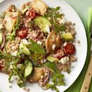 """<p>Feta, cucumbers, tomatoes, and avocado add color and flavor to healthy chicken dish.</p><p><a href=""""https://www.womansday.com/food-recipes/food-drinks/recipes/a58520/greek-chicken-farro-salad-recipe/"""" rel=""""nofollow noopener"""" target=""""_blank"""" data-ylk=""""slk:Get the recipe for Greek Chicken and Farro Salad."""" class=""""link rapid-noclick-resp""""><em><u><u>Get the recipe for Greek Chicken and Farro Salad.</u></u></em></a></p>"""