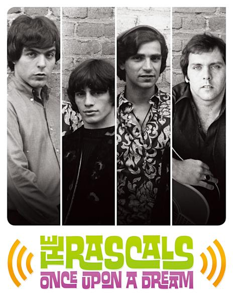 """This undated promotional image released by The Hartman Group shows recording group The Rascals on a poster promoting their 15-show Broadway run of """"One Upon a Dream."""" Steven Van Zandt has found a way to repay The Rascals who greatly influenced him by taking the original four-man band to their biggest and most unlikely stage, on Broadway. The reunited band will play 15 performances at the Richard Rodgers Theatre beginning in April 2013, a show combining live performance, video reenactments, archival concert and news footage, op-art backdrops and psychedelic lighting. (AP Photo/The Hartman Group)"""