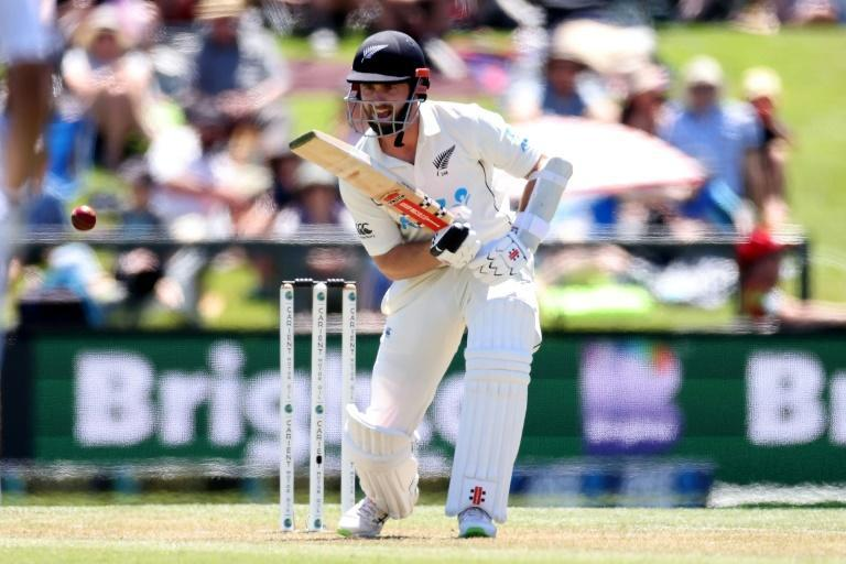 Kane Williamson drives on the way to his third century in his last three Tests