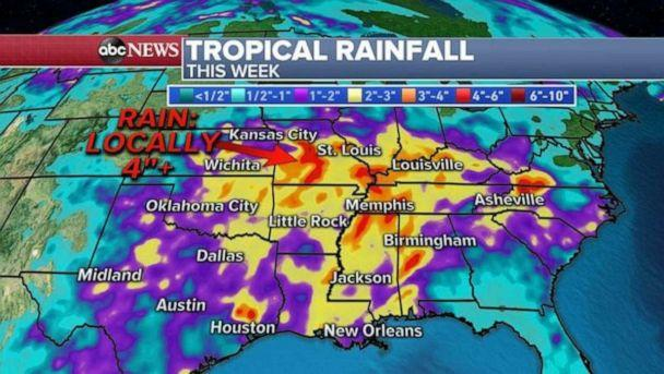 PHOTO: Rainfall totals this week could be more than 4 inches in certain localities. (ABC News)