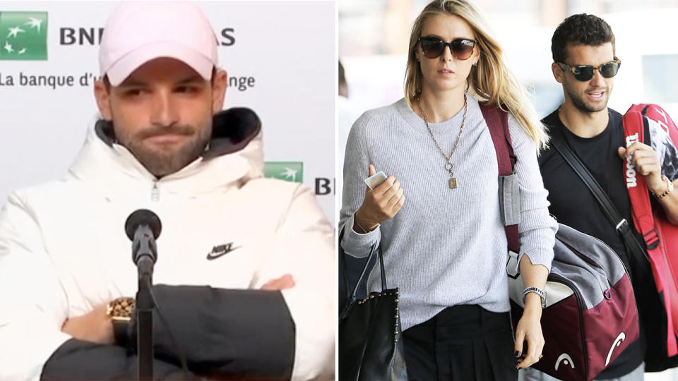 Grigor Dimitrov, pictured here being asked about Maria Sharapova at the French Open.
