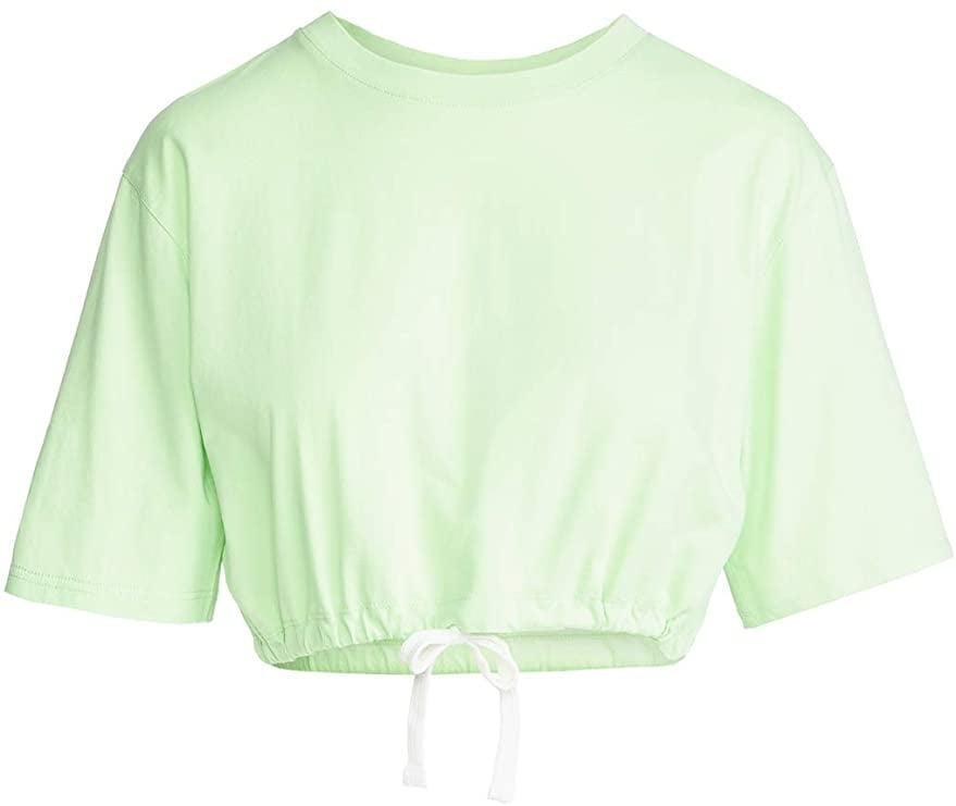 <p>This <span>Les Girls Les Boys Women's Cropped Drawstring Tee</span> ($30) pairs nicely with high-waisted jeans.</p>