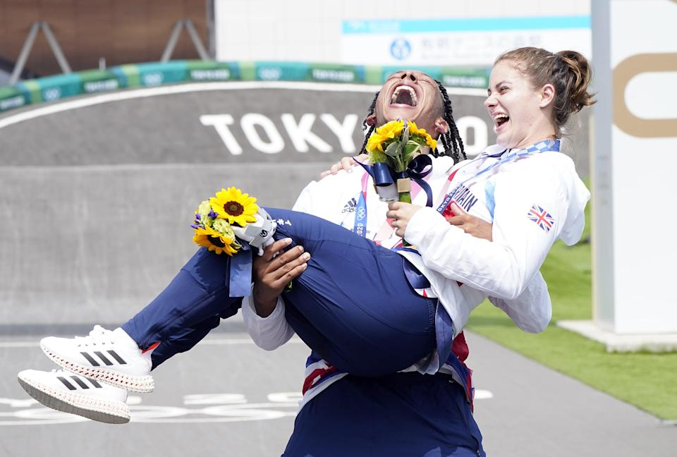 Great Britain's Beth Shriever and Kye Whyte celebrate their gold and silver BMX medals (Danny Lawson/PA) (PA Wire)