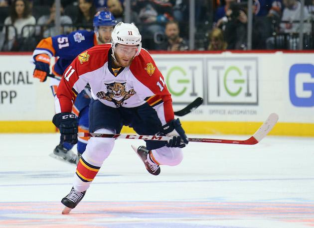 NEW YORK, NY - APRIL 24: Jonathan Huberdeau #11 of the Florida Panthers skates against the New York Islanders in Game Six of the Eastern Conference First Round during the 2016 NHL Stanley Cup Playoffs at the Barclays Center on April 24, 2016 in the Brooklyn borough of New York City. The Islanders won the game 2-1 in double overtime to win the series four games to two. (Photo by Bruce Bennett/Getty Images)