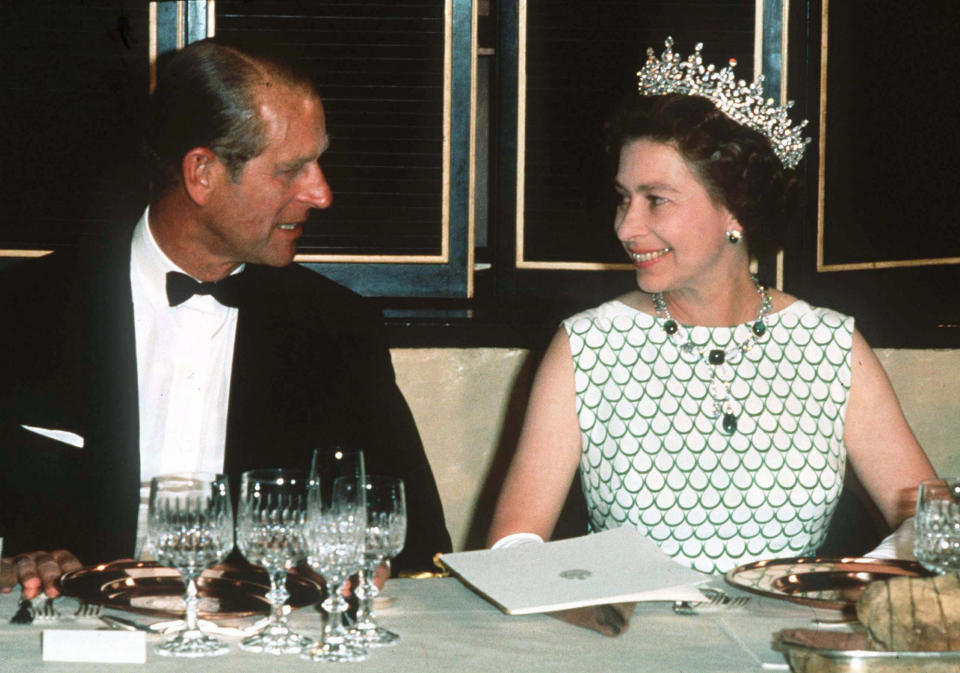 <p>While their love and respect for one another endured, Philip - pictured with the Queen at a state banquet in 1970 - reportedly struggled with some aspects of his role as prince consort. Photo: Getty Images.</p>