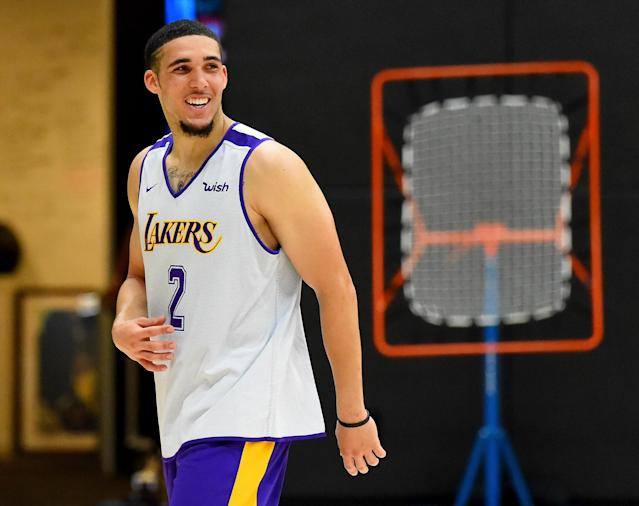"""LiAngelo Ball worked out for the <a class=""""link rapid-noclick-resp"""" href=""""/nba/teams/lal"""" data-ylk=""""slk:Lakers"""">Lakers</a>, but he does not yet appear to be in their plans. (Getty)"""