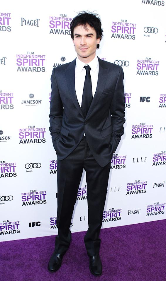 """Vampire Diaries"" heartthrob Ian Somerhalder was dashing (albeit overdressed) in a cool suit and smirk."