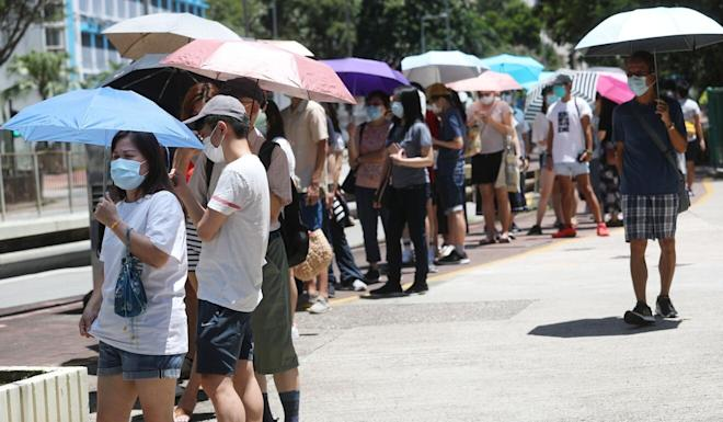 Residents queue to cast their ballots for their favoured opposition candidates at Hong Kong's Scenery Court. Photo: Edmond So