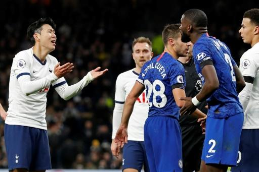 Tottenham's Son Heung-min was sent off after clashing with Chelsea's Antonio Rudiger