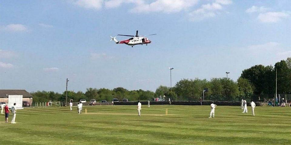 Helicopter Stops Cricket Match