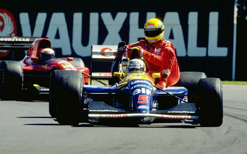 Nigel Mansell and Ayrton Senna — - GETTY IMAGES