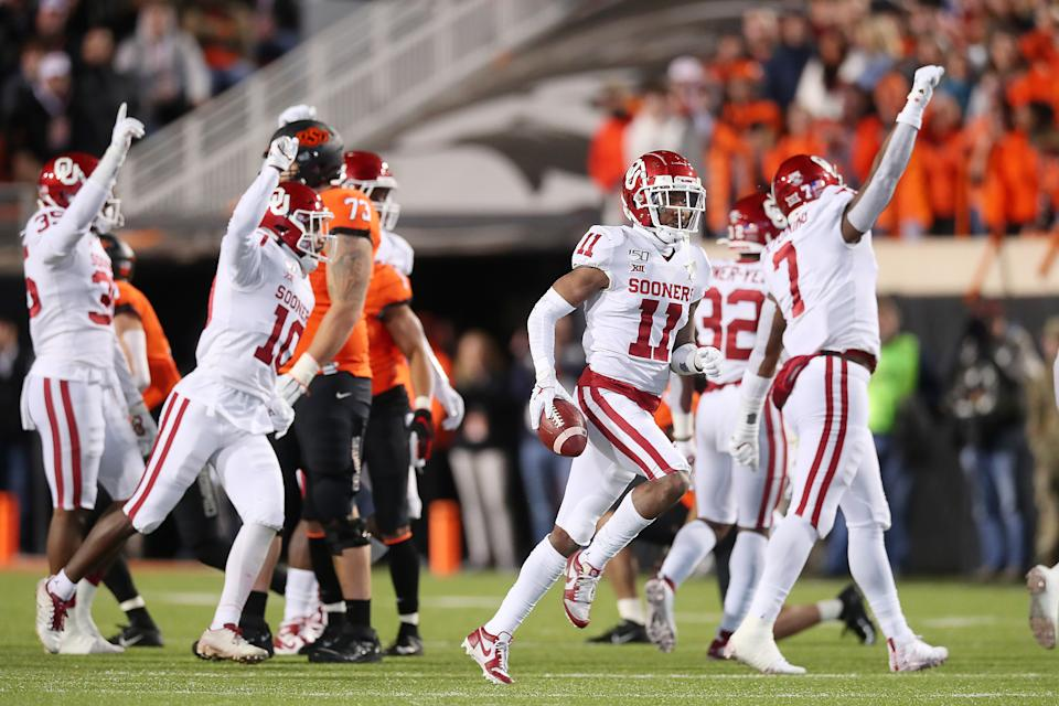 Oklahoma CB Parnell Motley (11) had two takeaways against Oklahoma State in Stillwater. (Photo by David Stacy/Icon Sportswire via Getty Images)