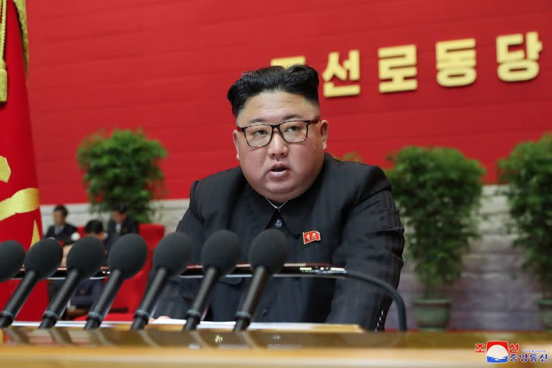 FILE PHOTO: North Korean leader Kim Jong Un speaks during the 8th Congress of the Workers' Party in Pyongyang
