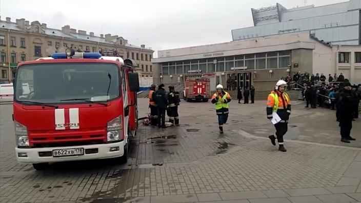 <p>Emergency services work outside Sennaya Square metro station in St Petersburg, Russia, Monday, April 3, 2017, in this image taken from video footage. At least 10 people were killed Monday in an explosion on the subway in St. Petersburg, Russian news agencies reported. (AP) </p>