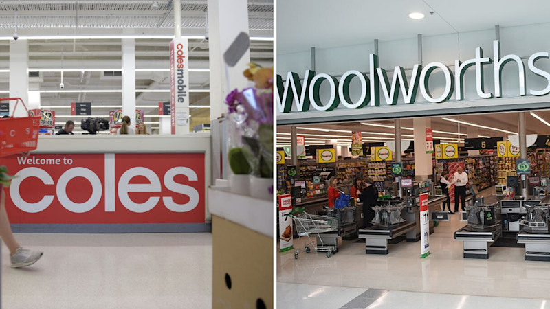 Pictured: Coles and Woolworths supermarkets. Images: Getty