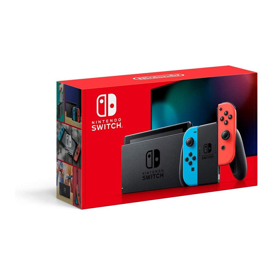 """We can't believe the <a href=""""https://www.glamour.com/story/nintendo-switch-review?mbid=synd_yahoo_rss"""" rel=""""nofollow noopener"""" target=""""_blank"""" data-ylk=""""slk:Nintendo Switch"""" class=""""link rapid-noclick-resp"""">Nintendo Switch</a> is back in stock on Amazon. (It's! Been! Sold! Out! Since! March!) Get it while you still can for your little brother or your boo, and watch the thank you's pour in. $300, Amazon. <a href=""""https://www.amazon.com/Nintendo-Switch-Neon-Blue-Joy%E2%80%91/dp/B07VGRJDFY?"""" rel=""""nofollow noopener"""" target=""""_blank"""" data-ylk=""""slk:Get it now!"""" class=""""link rapid-noclick-resp"""">Get it now!</a>"""