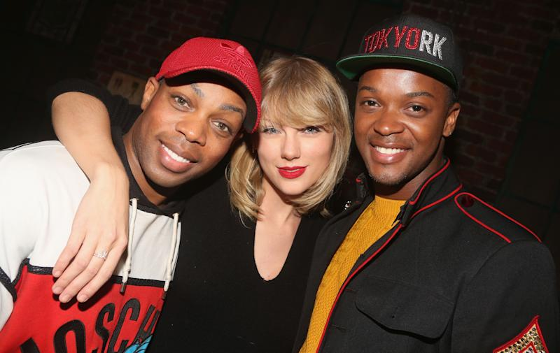 """Taylor Swift visits Todrick Hall, left, andHarrison Ghee, right, backstage at the musical """"Kinky Boots."""""""