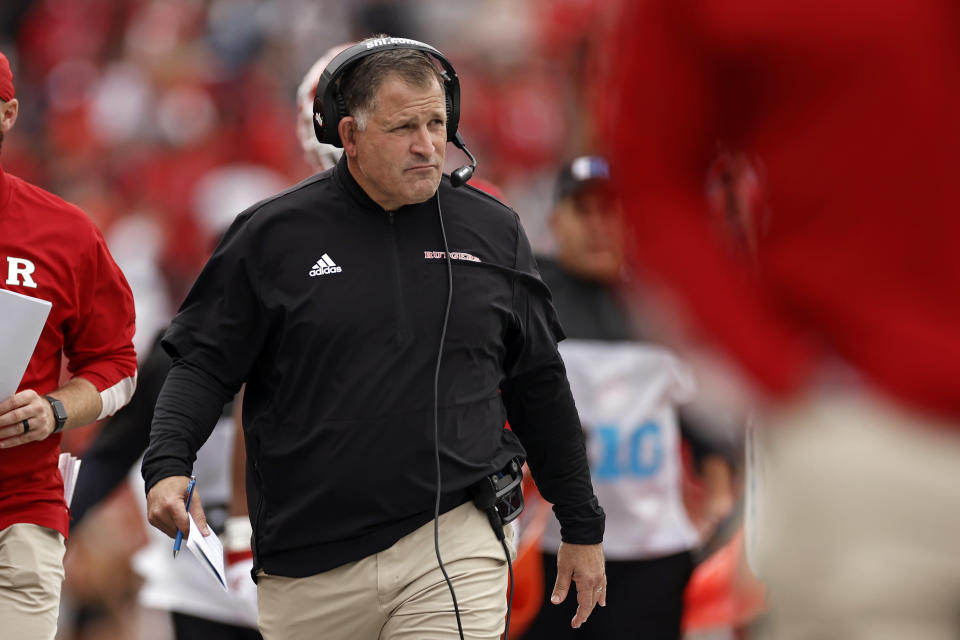 Rutgers head coach Greg Schiano looks on during the second half of an NCAA college football game against Michigan State, Saturday, Oct. 9, 2021, in Piscataway, N.J. Michigan State won 31-13. (AP Photo/Adam Hunger)