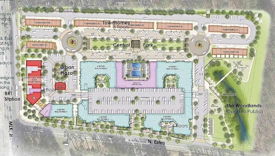 The Aura Chapel Hill project could include multiple parks and green spaces, as well as three-story townhouses on the northern property line, four-story apartments near Estes Drive and ground-floor retail and restaurant spaces.