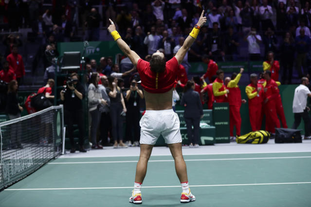 Spain's Rafael Nadal reacts after defeating Canada's Denis Shapovalov in their tennis singles match to win the Davis Cup final in Madrid, Spain, Sunday, Nov. 24, 2019. (AP Photo/Manu Fernandez)