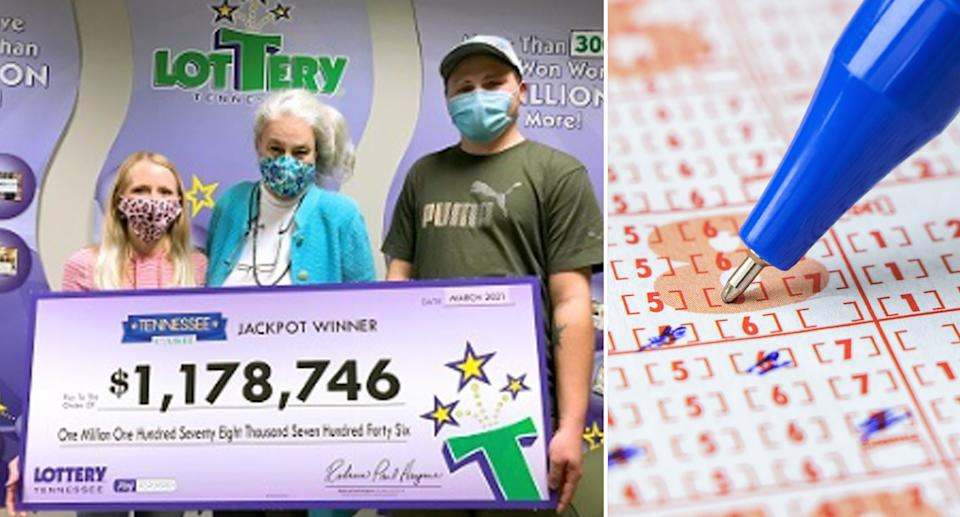 Nick Slattern (right) collects his winning lottery prize