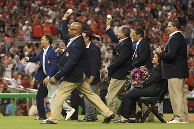 <p>Latin-born members of the Baseball Hall of Fame throw out the ceremonial first pitch at the start of the 88th MLB All-Star Game at Marlins Park on July 11, 2017 in Miami, Florida. (Photo by Mike Ehrmann/Getty Images) </p>
