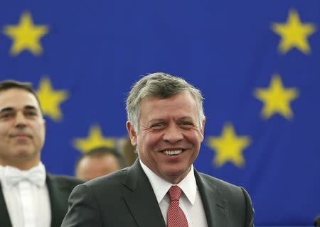 Jordan's King Abdullah arrives in the plenary room of the European Parliament to address the assembly in Strasbourg