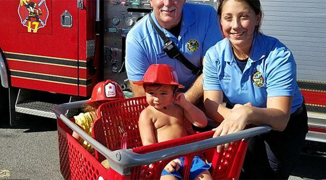 Emergency services took this photo with boy after he was freed. Source: News 6