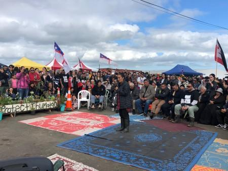 Protest leader Pania Newton speaks during a rally at Ihumatao, Auckland