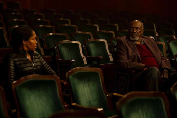 "Regina King and Louis Gossett Jr. in ""Watchmen,"" a show that addresses the history of white supremacy in America. (Photo: HBO)"