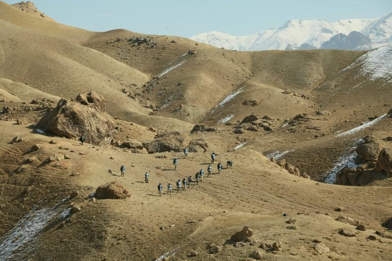The hills of Bamiyan, which is famous as the home of two giant 6th-century Buddha carvings that the Taliban blew up, have been extensively scoured for mines and other explosives (AFP Photo/MOHAMMAD ALI SHAIDA)