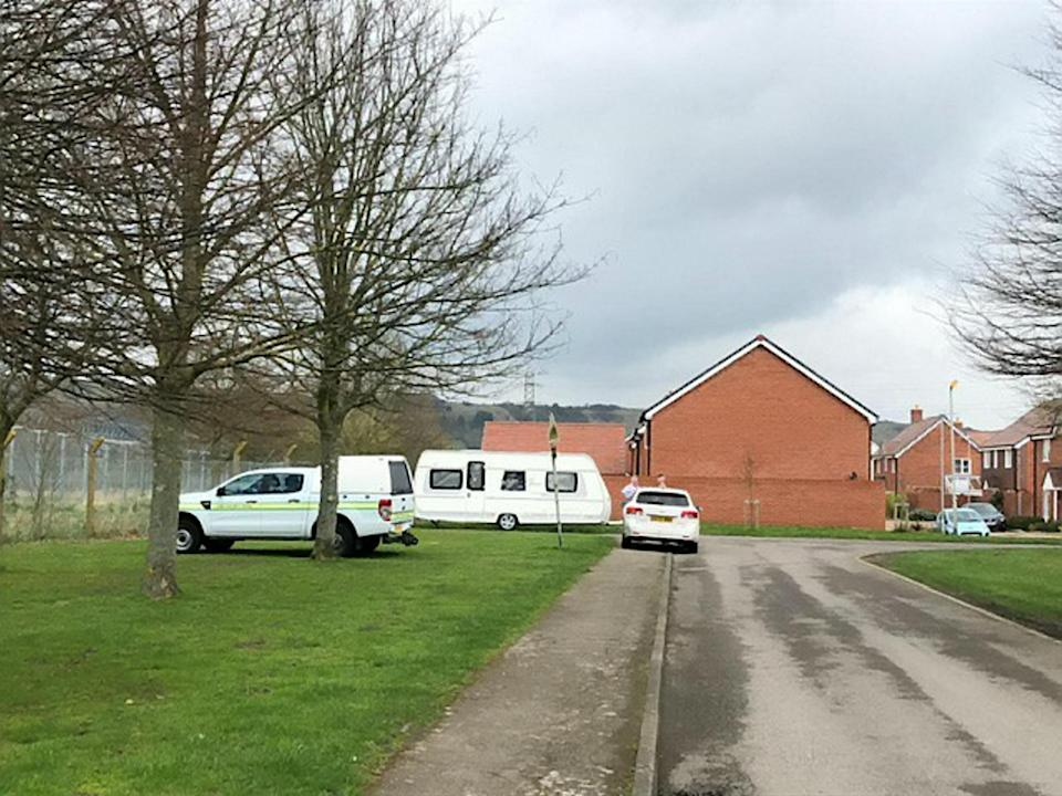 Travellers were surprised when the army arrived to move them on from land in Folkestone, Kent, on Tuesday. (SWNS)