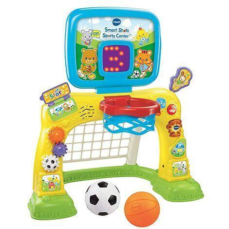 """<p><strong>VTech </strong></p><p>amazon.com</p><p><strong>$44.12</strong></p><p><a href=""""http://www.amazon.com/dp/B00KG3WYI2/?tag=syn-yahoo-20&ascsubtag=%5Bartid%7C10055.g.5152%5Bsrc%7Cyahoo-us"""" rel=""""nofollow noopener"""" target=""""_blank"""" data-ylk=""""slk:Shop Now"""" class=""""link rapid-noclick-resp"""">Shop Now</a></p><p>Start your sporty toddler off with soccer <em>and</em> basketball with one toy. <strong>The set lights up and makes sounds</strong> while also keeping track of the baskets and goal on a light-up scoreboard.<br></p>"""