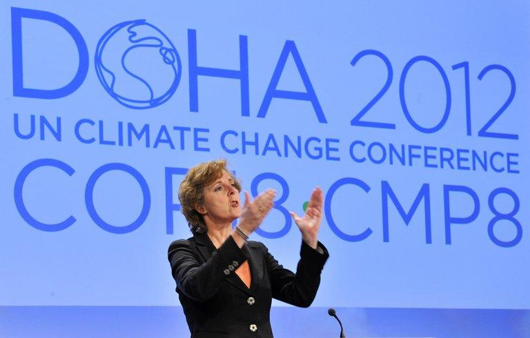"""EU commissioner for Climate Action Connie Hedegaard talking during a press conference in November 2012 at the EU Headquarters in Brussels ahead of the Doha Climate Conference. """"It is a modest but essential step forward,"""" European climate commissioner Connie Hedegaard said at the conclusion of talks that had continued throughout Friday night and ran a whole day into extra time"""